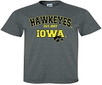 HAWKEYES IOWA - DARK GREY  T-SHIRT