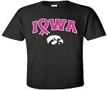 PINK RIBBON IOWA - BLACK T-SHIRT