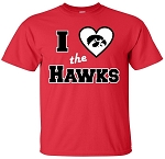 I LOVE THE HAWKS - RED T-SHIRT