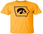 TIGERHAWK IN STATE OF IOWA - GOLD  T-SHIRT