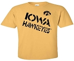 IOWA HAWKEYES STAMPED - ANTIQUE GOLD T-SHIRT