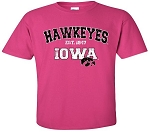 HAWKEYES IOWA -  HOT PINK T-SHIRT