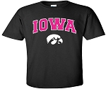 IOWA PINK LETTERS - BLACK T-SHIRT