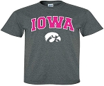 IOWA PINK LETTERS - DARK GREY T-SHIRT