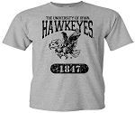 U OF I  HAWKEYES - LIGHT GREY T-SHIRT