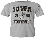 IOWA FOOTBALL 1889 - LIGHT GREY T-SHIRT