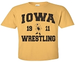 IOWA WRESTLING 1911 ANTIQUE GOLD T-SHIRT