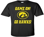 GAME ON GO HAWKS - BLACK T-SHIRT