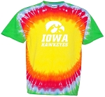 IOWA HAWKEYES - RAINBOW TIE DYE T-SHIRT