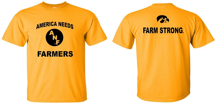 america needs farmers front farm strong back gold t shirt