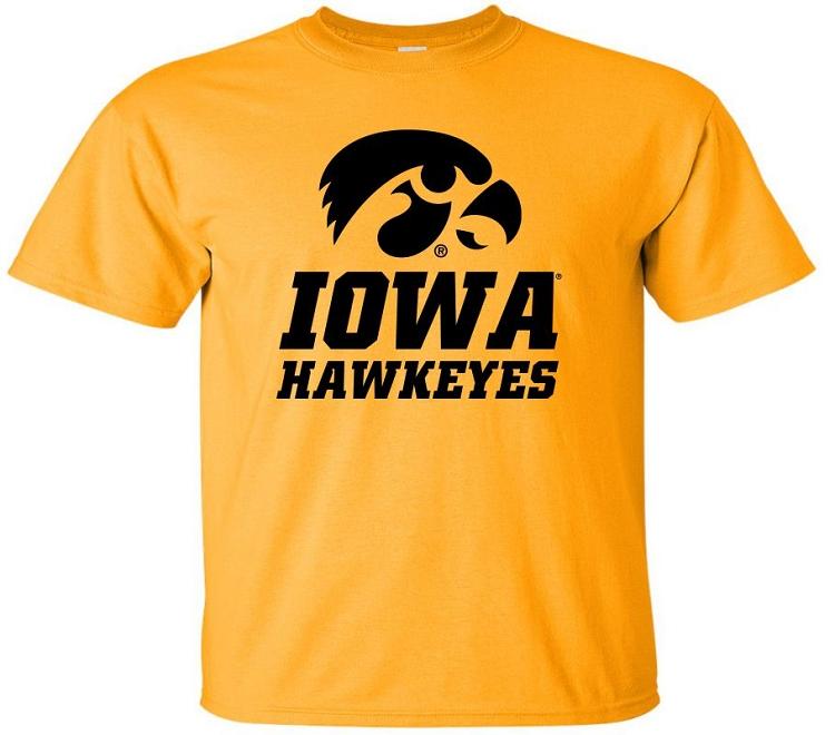 Iowa hawkeyes gold t shirt for Iowa hawkeye t shirt