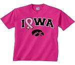 PINK RIBBON IOWA HOT PINK T-SHIRT