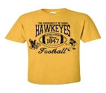 U OF I HAWKEYES FOOTBALL ANTIQUE GOLD T-SHIRT