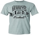 U OF I HAWKEYES FOOTBALL - LIGHT GREY T-SHIRT