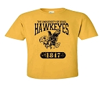 U OF I  HAWKEYES ANTIQUE GOLD T-SHIRT