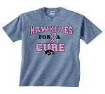 HAWKEYES FOR A CURE LIGHT GRAY T-SHIRT