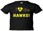 I LOVE THE HAWKS BLACK T-SHIRT