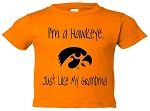 I'M A HAWKEYE LIKE MY GRANDMA GOLD T-SHIRT
