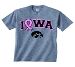 PINK RIBBON IOWA GRAY T-SHIRT