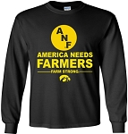 AMERICA NEEDS FARMERS WITH ANF LOGO - BLACK  LONG SLEEVE SHIRT
