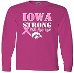 IOWA STRONG PINK RIBBON - HOT PINK LONG SLEEVE