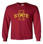 I STATE DARK RED LONG SLEEVE T-SHIRT