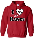 I LOVE THE HAWKS - RED HOODED SWEATSHIRT