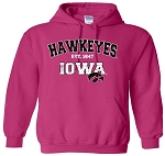 HAWKEYES IOWA - HOT PINK HOODED SWEATSHIRT
