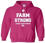 AMERICA NEEDS FARMERS FARM STRONG HOT PINK HOODED SWEATSHIRT