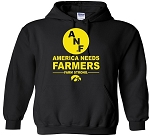 ANF AMERICA NEEDS FARMERS IOWA BLACK HOODED SWEATSHIRT