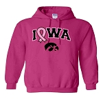 PINK RIBBON IOWA HOT PINK HOODED SWEATSHIRT