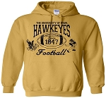 U OF I HAWKEYES FOOTBALL ANTIQUE GOLD HOODED SWEATSHIRT
