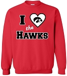 I LOVE THE HAWKS - RED CREWNECK SWEATSHIRT