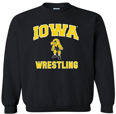 Iowa Hawkeye Wrestling Black Crewneck Sweatshirt