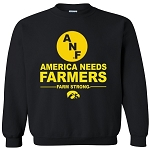 ANF AMERICA NEEDS FARMERS IOWA BLACK CREWNECK SWEATSHIRT