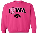 PINK RIBBON IOWA - HOT PINK CREW SWEATSHIRT
