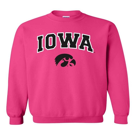 Iowa - Hot Pink Crewneck Sweatshirt
