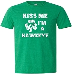 KISS ME I'M A HAWKEYE - VINTAGE GREEN SOFT STYLE T-SHIRT