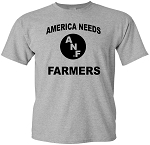 AMERICA NEEDS FARMERS FRONT - FARM STRONG BACK - LT GREY