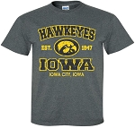 HAWKEYES IOWA - IOWA CITY, IOWA - DARK GREY T-SHIRT