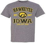 HAWKEYES IOWA - IOWA CITY, IOWA - MEDIUM GREY T-SHIRT