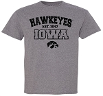 HAWKEYES est 1847 IOWA - MEDIUM GREY T-SHIRT