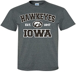 HAWKEYES est 1847 IOWA w/ TIGERHAWK - DARK GREY T-SHIRT