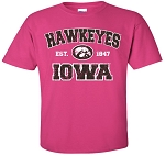 HAWKEYES est 1847 IOWA w/ TIGERHAWK - HOT PINK T-SHIRT