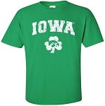 IOWA WITH HAWK SHAMROCK - GREEN  T-SHIRT
