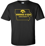 Woodshed Iowa 52242 - Black T-Shirt