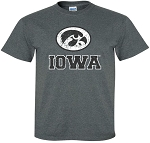OVAL TIGERHAWK - IOWA DISTRESSED - DARK GREY T-SHIRT