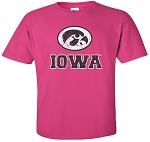 OVAL TIGERHAWK - IOWA DISTRESSED - HOT PINK T-SHIRT