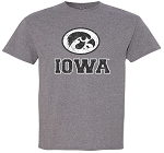 OVAL TIGERHAWK - IOWA DISTRESSED - MEDIUM GREY T-SHIRT
