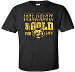 BLACK & GOLD FOR LIFE - BLACK T-SHIRT